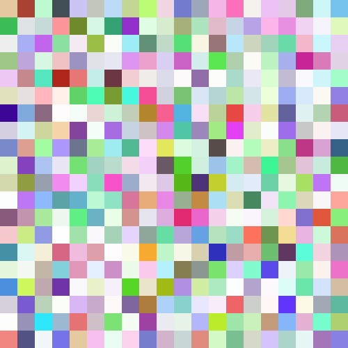 This example generates a 20x20 grid of completely random colors by keeping the Colors option empty. Each random color grid block is 25px in size and the whole random image is 500x500px.