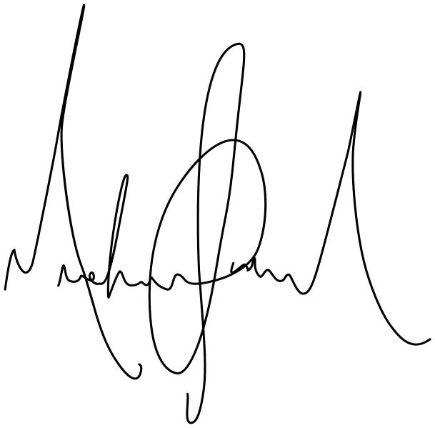 "In this example, we upload a scanned image of Michael Jackson's signature on an opaque white background and convert it into a digital signature. We remove all the white pixels that surround the signature by entering the ""white"" color name in the transparency color option. As the white background may contain some gray areas (scanning imperfections), we set the color similarity to 15 percent to remove those pixels, too. The output image contains only the black ink stamp that can be added as the top layer on any e-document."