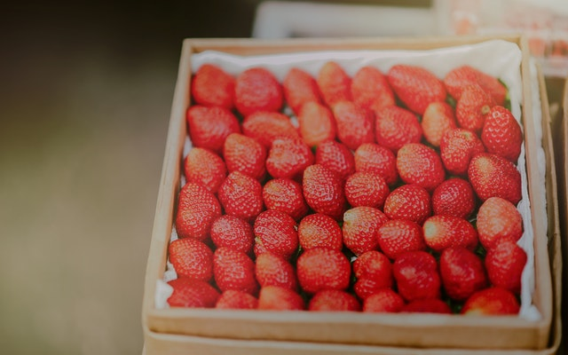 This example reduces the quality of a JPEG image of strawberries by 100 percent.